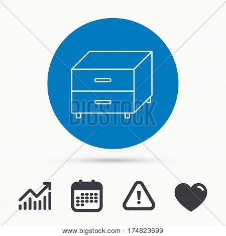 Nightstand icon. Bedroom furniture sign. Calendar, attention sign and growth chart. Button with web icon. Vector