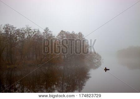 morning mist over the river. Autumn landscape