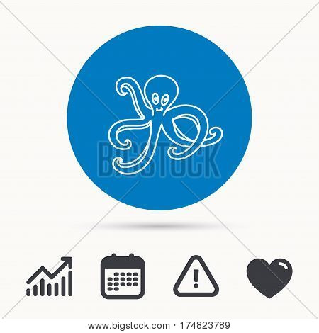 Octopus icon. Ocean devilfish sign. Calendar, attention sign and growth chart. Button with web icon. Vector