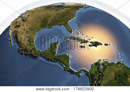 Planet Earth from space showing Central America with enhanced bump isolated on white background, 3D illustration, Elements of this image furnished by NASA