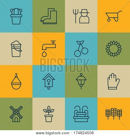 Set Of 16 Holticulture Icons. Includes Grower, Gardening Shoes, Water Monument And Other Symbols. Beautiful Design Elements.