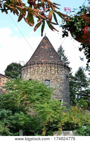 Old medieval Kaptol turret in Zagreb Croatia