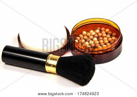 tone powder makeup isolated on white background