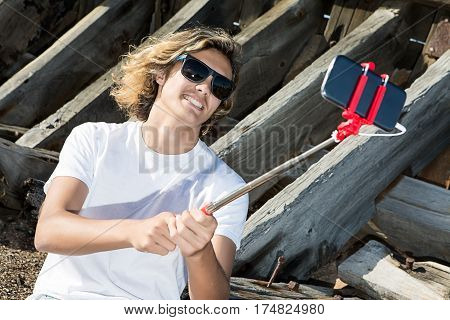 Cheerful Man Posing For Selfie