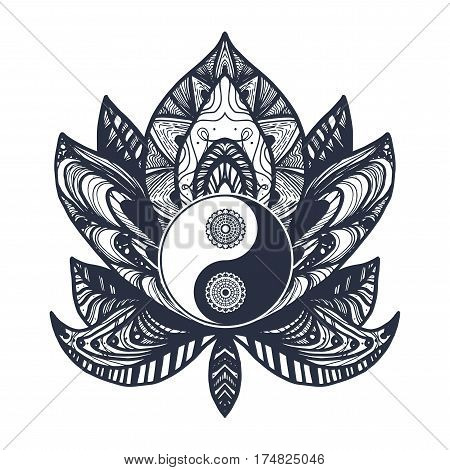 Vintage Yin and Yang in Mandala Lotus. Tao symbol for print tattoo coloring bookfabric t-shirt yoga henna cloth in boho style. Mehndi occult and tribal esoteric and alchemy sign. Vector