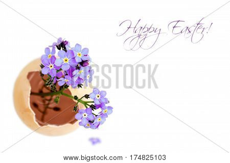 Easter card with spring flowers in eggshell isolated on white