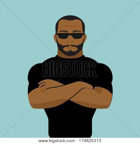 Black man security guard of night club. Security man vector stock.