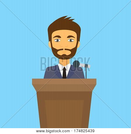 Speaker icon. orator man speaking from tribune. vector flat design colorful illustration