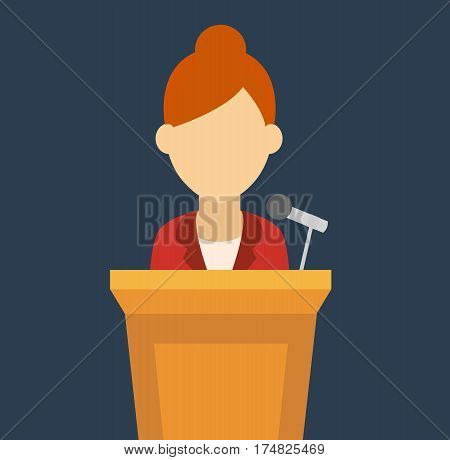 Speaker icon. orator woman speaking from tribune. vector flat design colorful illustration