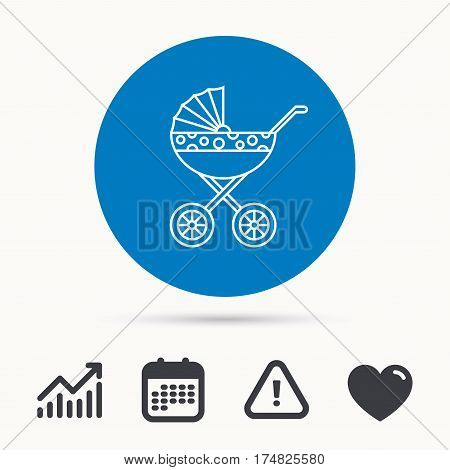Pram icon. Newborn stroller sign. Child buggy transportation symbol. Calendar, attention sign and growth chart. Button with web icon. Vector