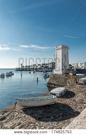 Fishing port with the little white lighthouse of Saint-Gilles Croix de Vie, France