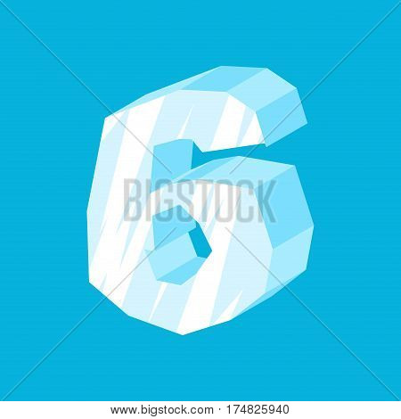 Number 6 Ice. Icicles Font Six. Frozen Alphabet Symbol. Iceberg Abc Sign