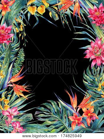 Watercolor colorful flowers and leaves making a floral frame illustration isolated on black background.