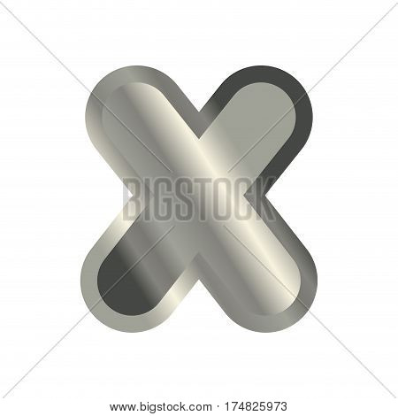 Letter X Steel Font. Metal Alphabet Sign. Iron Abc Symbol. Chromium Lettering. Silver Typography