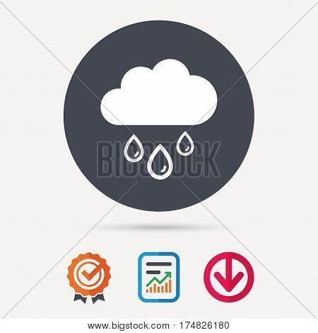 Cloud with rain drops icon. Rainy day symbol. Report document, award medal with tick and new tag signs. Colored flat web icons. Vector