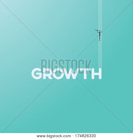 Business growth concept with businessman on a ladder looking through a monocular. Business future and vision concept. Eps10 vector illustration.
