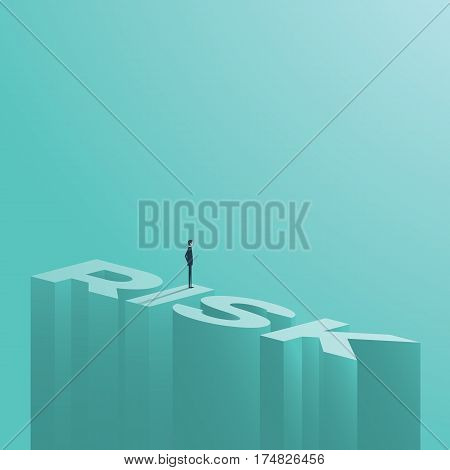 Businessman figure standing on a word risk at great height. Business risk assessment or management vector symbol background. Eps10 vector illustration.