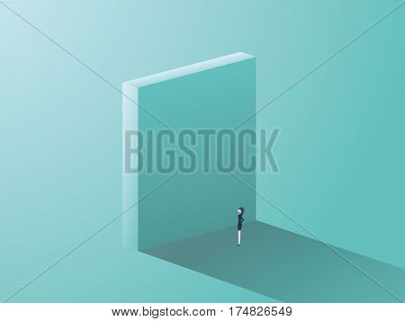 Businesswoman standing in front of high wall as a symbol of corporate gender issues for women. Business challenge and obstacle concept. Eps10 vector illustration.