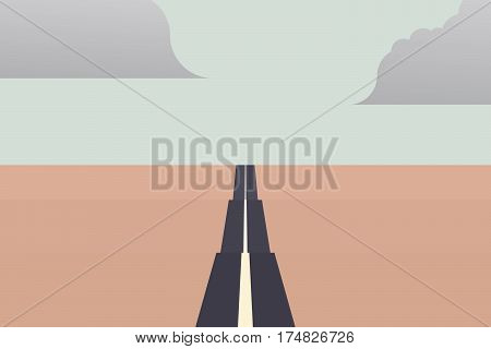Long straight road to the horizon as a symbol of unlimited traveling on summer holiday. Eps10 vector illustration.