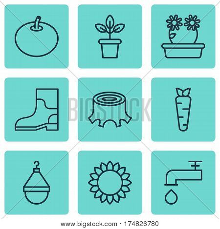 Set Of 9 Planting Icons. Includes Spigot, Helianthus, Rubber Boot And Other Symbols. Beautiful Design Elements.