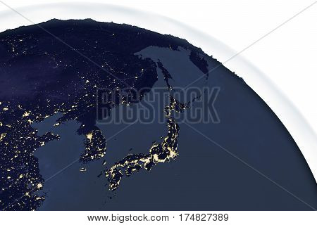 Planet Earth from space showing Japan in night with enhanced bump, 3D illustration, Elements of this image furnished by NASA