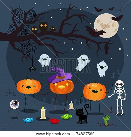 Halloween illustration. Three pumpkins on a blue background with skeletons and ghosts. Poster for Halloween Party Night. Flat design, vector illustration.