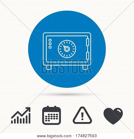 Safe icon. Money deposit sign. Combination lock symbol. Calendar, attention sign and growth chart. Button with web icon. Vector