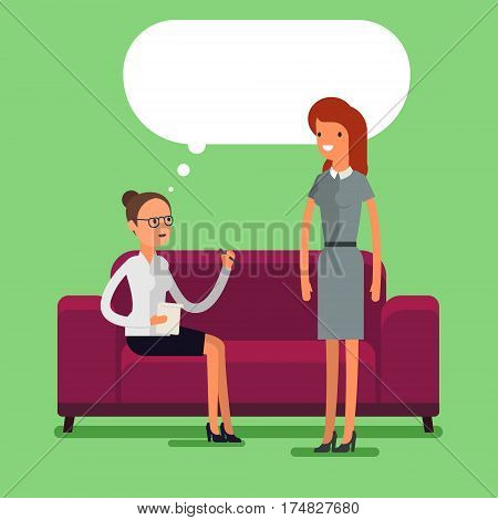 Psychological counseling concept. Two cartoon business women talking. Flat design, vector illustration