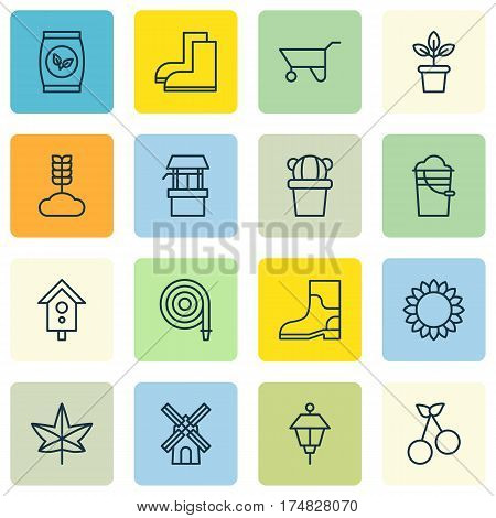 Set Of 16 Planting Icons. Includes Gardening Shoes, Cereal, Lantern And Other Symbols. Beautiful Design Elements.