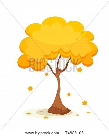 Yellow maple tree with leaves. Autumn maple with gold falling leaves on a white background. Cartoon style. Stock vector illustration