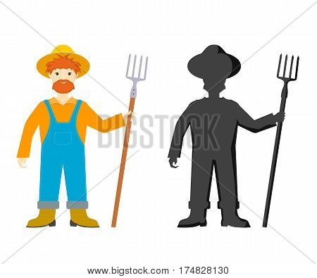 Cartoon farmer. Vector illustration of a cheerful farmer with a pitchfork on a white background. Stock vector illustration
