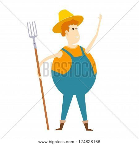 Cartoon farmer. Illustration of a cheerful farmer with a pitchfork on a white background. Stock vector illustration
