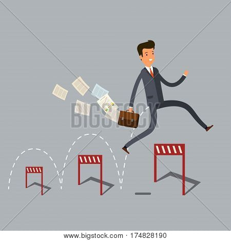Concept of success. Businessman jumping over hurdle.