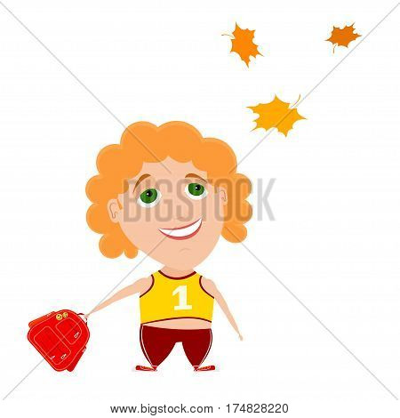 The return to school. The little boy with a red backpack looking at autumn maple leaves. Cartoon style. Stock vector illustration. Back to school