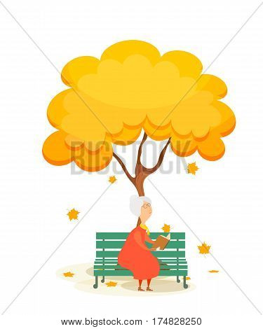The old woman on the bench. Elderly woman on a park bench reading a book under a autumn yellow tree. Falling maple leaves. Autumn time. Stock vector illustration