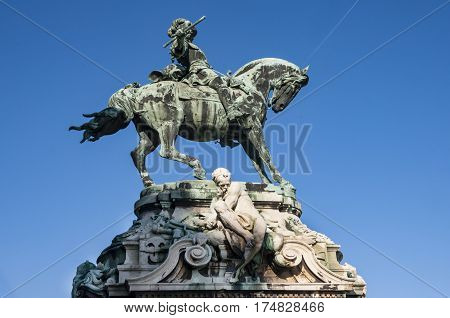 the equestrian statue at the royal palace in Budapest, Hungary