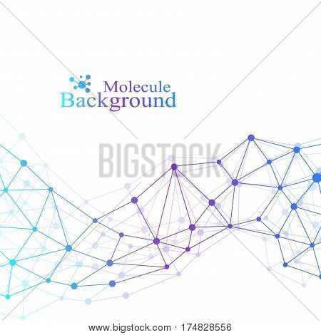 Structure molecule DNA research as concept. Genetic particle compounds. Science and technology background communication. Medical scientific backdrop for your design. Vector Illustration