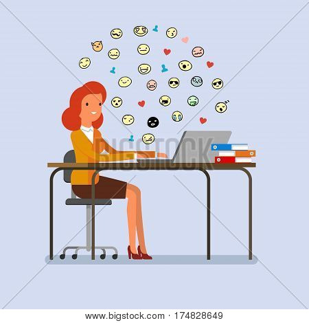 Concept of procrastination. Business woman spends time on the Internet. Flat design, vector illustration.