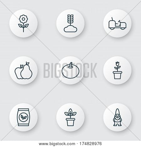 Set Of 9 Gardening Icons. Includes Fruits, Decorative Plant, Floret And Other Symbols. Beautiful Design Elements.