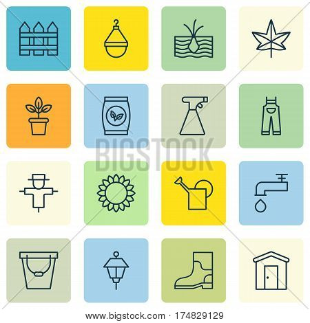 Set Of 16 Gardening Icons. Includes Autumn Plant, Helianthus, Bugbear And Other Symbols. Beautiful Design Elements.