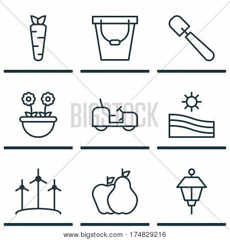 Set Of 9 Gardening Icons. Includes Windmill, Agrimotor, Shovel And Other Symbols. Beautiful Design Elements.