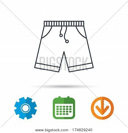 Shorts icon. Casual clothes shopping sign. Calendar, cogwheel and download arrow signs. Colored flat web icons. Vector