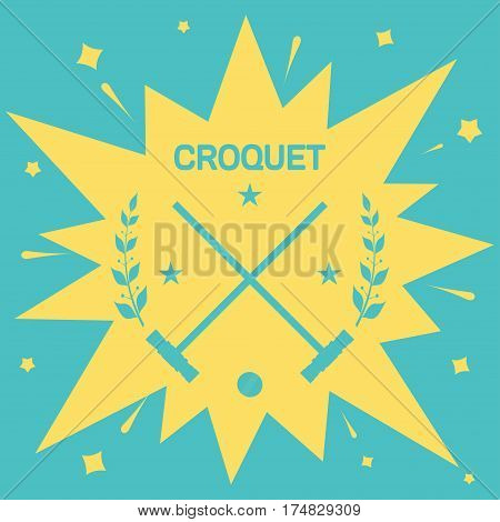 Croquet. Vintage background with clubs and ball for Croquet. Poster advertising for sports equipment. Club emblem. Stock vector illustration