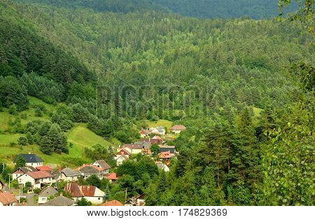 Picturesque small village in a valley surrounded by forests in east Slovakia