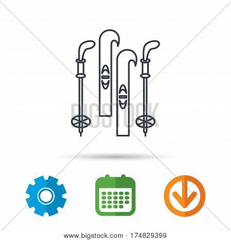 Skiing icon. Ski and sticks sign. Calendar, cogwheel and download arrow signs. Colored flat web icons. Vector