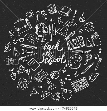 Concept of education. School background with hand drawn school supplies. Back to school. Freehand drawing school items on blackboard.