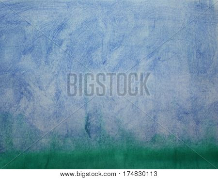 Abstract watercolor blue background like landscape with grass below