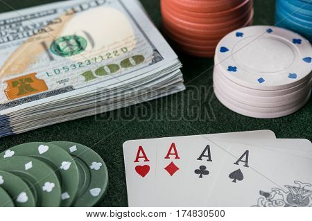 Poker Cards, Chips And Cash