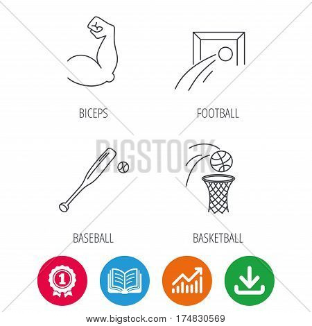 Baseball, football and basketball icons. Biceps linear sign. Award medal, growth chart and opened book web icons. Download arrow. Vector