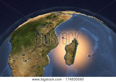 Planet Earth from space showing Madagascar and Eastern Africa with enhanced bump, 3D illustration, Elements of this image furnished by NASA